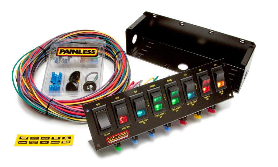 8 Switch Panel - Fused w/all necessary wiring & hardware  By Painless Performance