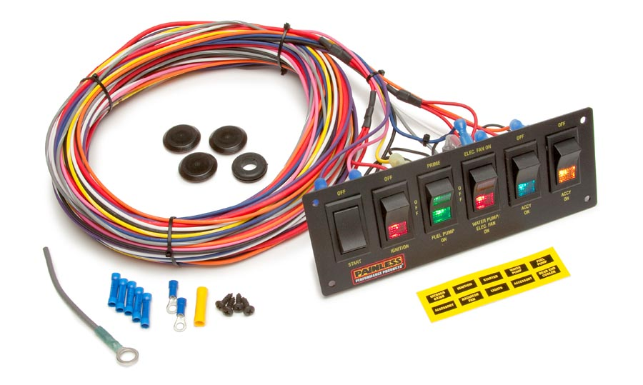 6 Switch Lighted Non-Fused Rocker Switch Panel w/wiring By Painless Performance