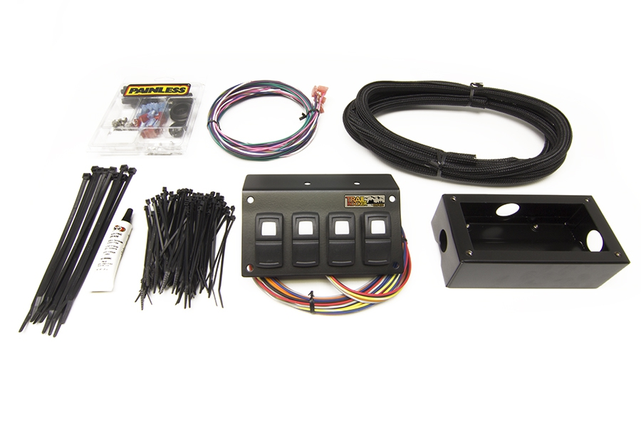 3 Toggle// 1 Momentary Toggle Switch Panel 4-1//8 x 3 in Kit Dash Mount Black